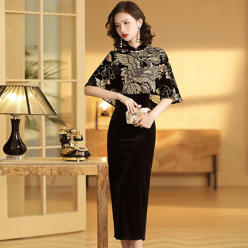 Chinese Gown Party Cloak Vintage Qipao Evening Dress