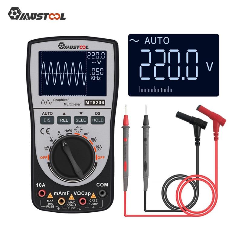 MUSTOOL Upgraded MT8206 2 In 1 Intelligent Digital Oscilloscope Multimeter Current Voltage Tester With Analog Bar Graph 200k