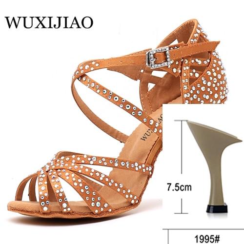 WUXIJIAO Women Party Dance Shoes  Satin Shining rhinestones Soft Bottom Latin Dance Shoes Woman Salsa Dance Shoes heel5CM-10CM 5
