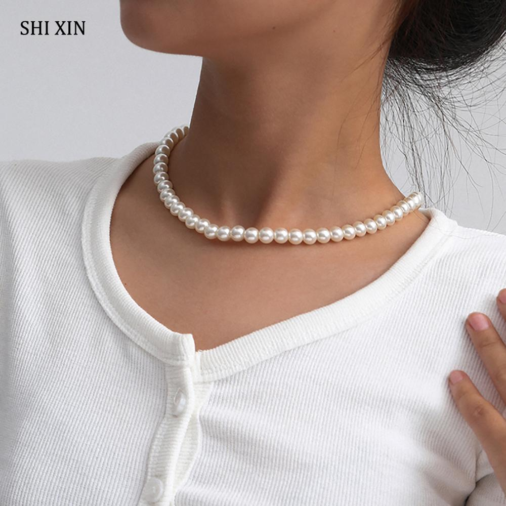 SHIXIN Simple Short Imitation Pearl Choker Necklace Women Korean White Pearls Beads Choker Collar 2020 Necklaces Fashion Jewelry