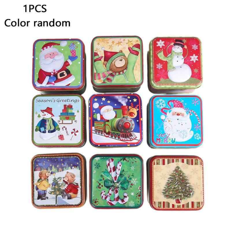 1pc Christmas Square Tinplate Cans Square Iron Bump Candy Box Gift Storage Box Biscuit Cans Tin Can Christmas Gift Jar Organizer