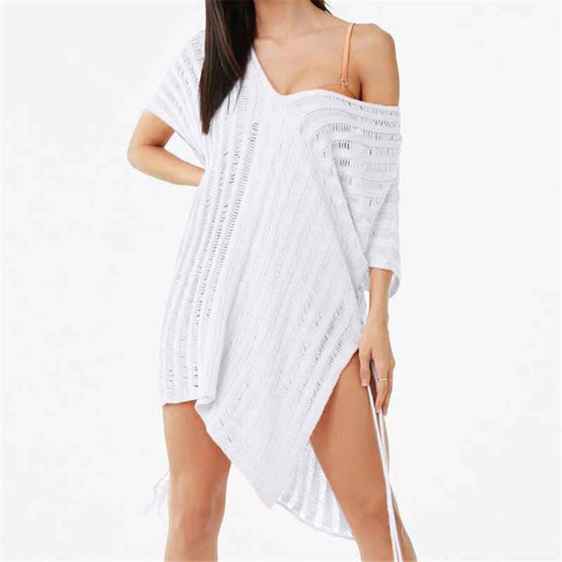 2020 Áo Croptop Dệt Kim Trắng Bãi Biển Che Đầm Thun Dài Pareos Bikini, Trải Bơi Che Áo Dây Plage Đi Biển # Q778