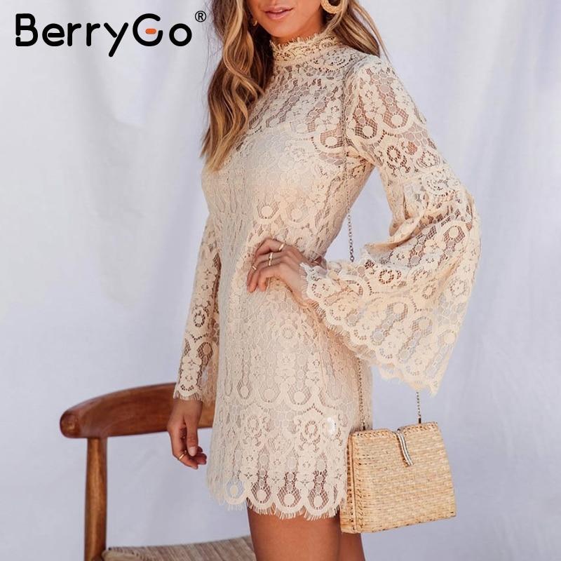 Женское кружевное платье с вышивкой BerryGo, элегантное короткое вечернее платье с расклешенным рукавом, осенние платья с оборками