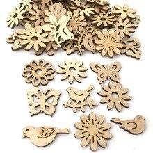 50PCS Christmas Natural Retro Wood Chips Pendants Unique Decoration Ornaments Xmas Festive Party Decor H