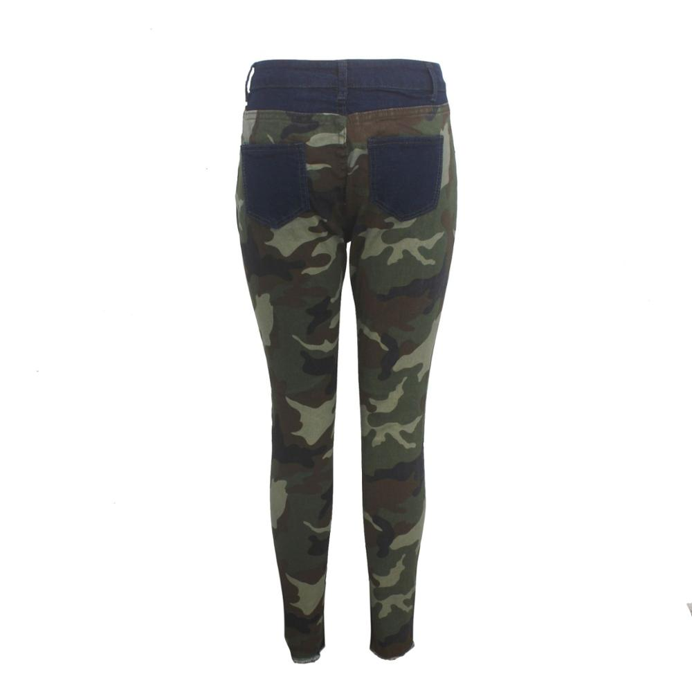 2019 New Autumn Winter Female Denim Pants Women Skinny Hole Spliced Camouflage Print Jeans Sexy pencil Bandage Trousers HSF2096 5