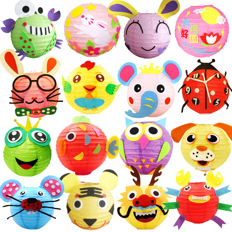 LED 20cm Cartoon Animals Lantern Chinese Round Paper Lantern Child DIY Handcrafts For Birthday Party Wedding Decoration Candle