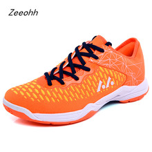 Zeeohh/Нескользящий светильник; обувь для бадминтона для мужчин; дышащая Нескользящая теннисная обувь на шнуровке; унисекс; пара тренировочных кроссовок