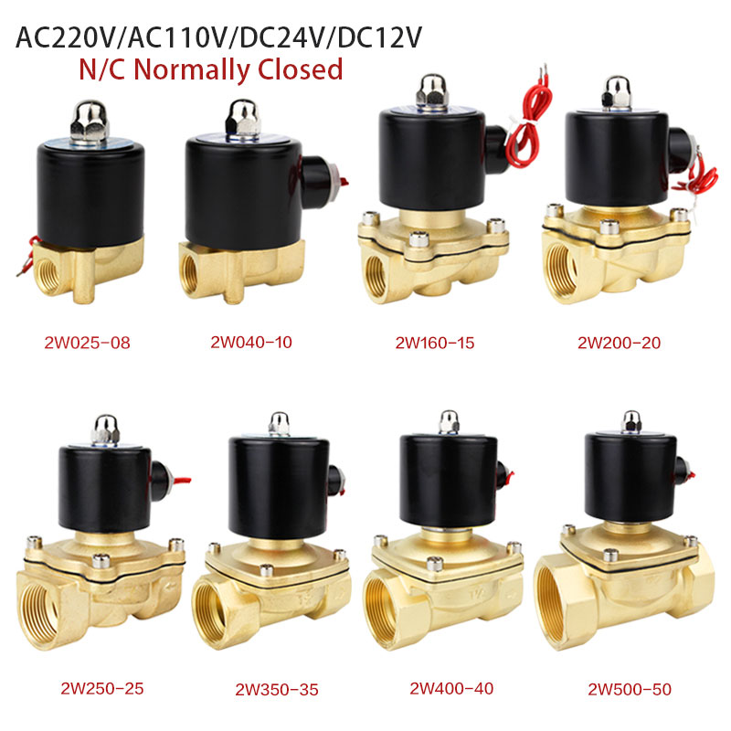 Electric Solenoid Valve 1/4 3/8 1/2 3/4 1 DN8/10/15/20/25/50 Normally Closed Pneumatic for Water Oil Air 12V 24V 220V 110V image