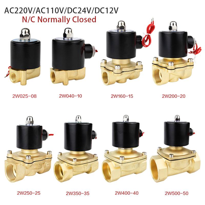 "Válvula Solenoide eléctrica de 1/4 "", 3/8"", 1/2 "", 3/4"", 1 "", DN8/10/15/20/25/50, neumática normalmente cerrada para aceite de agua y aire de 12V, 24V, 220V y 110V|Válvula|   - AliExpress"
