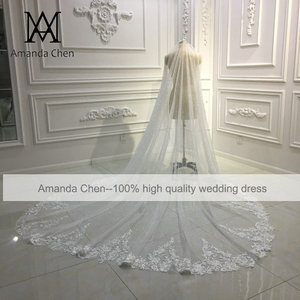 Image 2 - Amanda Design Long Luxury One Layer Glitter Tulle Veil with Comb