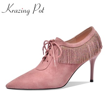 Krazing pot 2020 kid suede pointed toe high thin heels rhinestone fringe gentlewomen party deep mouth lace up spring pumps L01