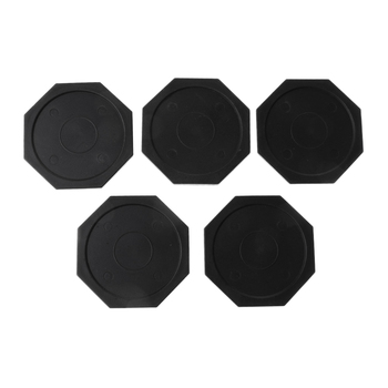 5 Pieces 2.5 Black Plastic Air Hockey Pucks (Octagon) For Game Tables, Equipment, Accessories
