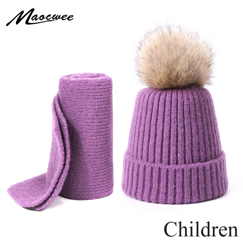 Faux Fur Pompon Hat Scarf Set For Children Winter Wool Warm Knitted Skullies Beanies Solid Cotton Hat Outdoor Hat And Scarf Set