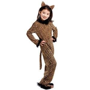 Image 2 - Halloween Leopard kostium dla dzieci dziewczyna Kitty Catwoman Cosplay zima dzieci piżama w zwierzątka Masquerade karnawałowa sukienka