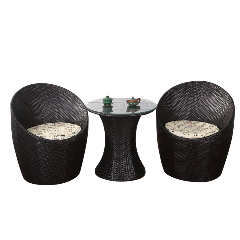 Balcony table and chair wicker chair three-piece small coffee table combination simple leisure outdoor outdoor garden chair