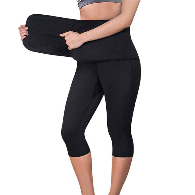 Women Sauna Yoga Pant Capris Leggings Fat Control Sweat Legging with Waist Trainer Belt Hot Sweat Shaper Pants Neorene Wetsuit 1