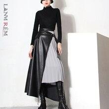 Patchwork Skirt LANMREM Plus-Size Women Lady Mesh for High-End Casual Irregular Female