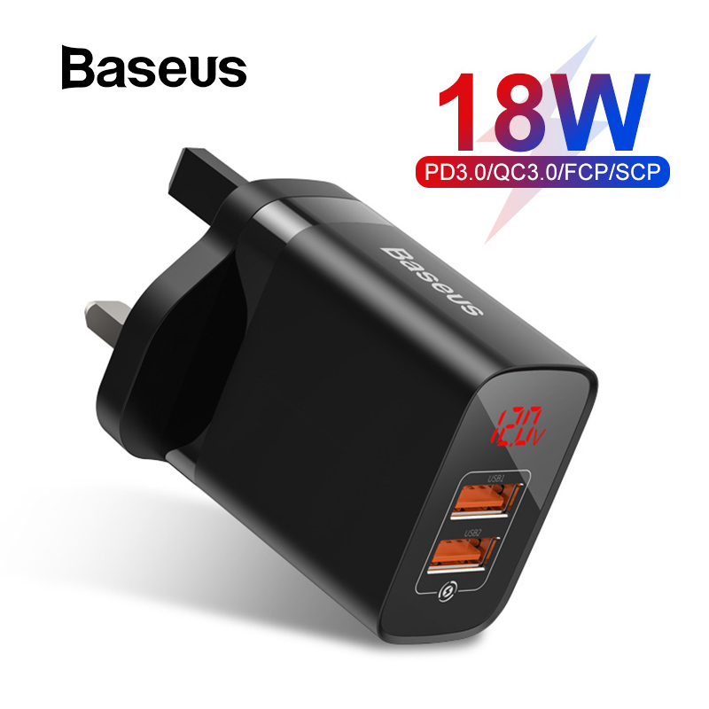 Baseus UK Quick Charge 3.0 USB Charger 18W PD Fast Phone Charger With FCP AFC  For Huawei P30 Pro Samsung S10 IPhone 11 Pro XR
