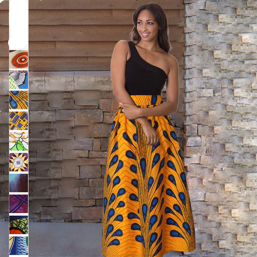 Print Skirts 2020 News African Dresses For Women Fashion Dashiki Skirts Bazin Robe Clothes Vestido Middle East Riche Traditional