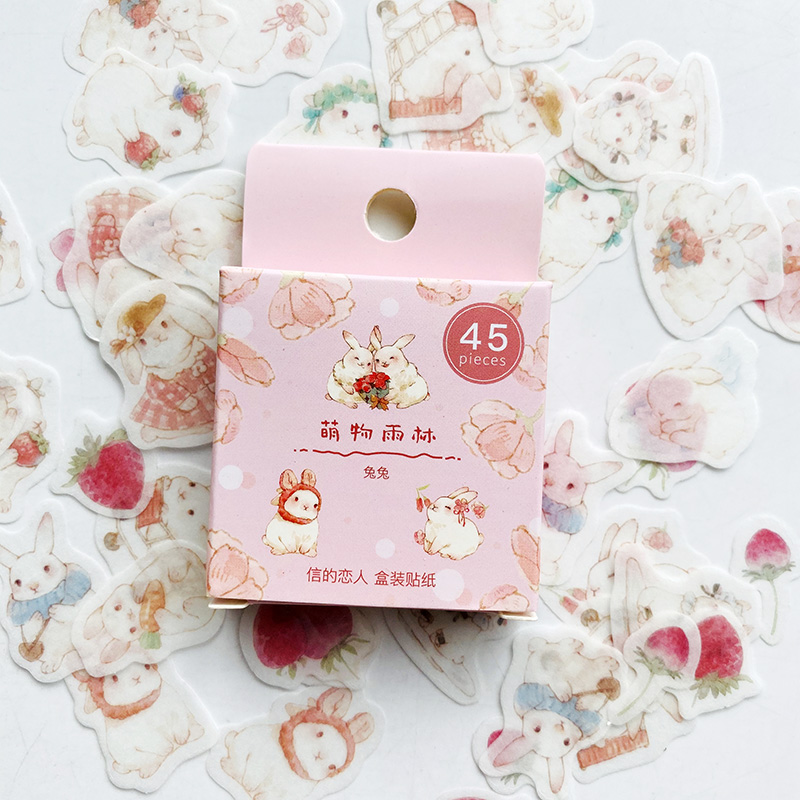 45PCS/Pack Cute Rabbit And Strawberry Sticker Adhesive Craft Stick Label Notebook Computer DIY Decor Kids Gift Stationery