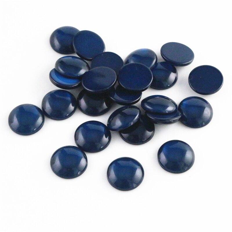 New Fashion 40pcs 12mm Dark Blue Color Flat Back Resin Cabochons Cameo -F7-66
