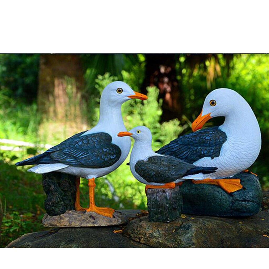 Resina seagull estátua jardim ornamento criativo náutico temático decoração do quarto