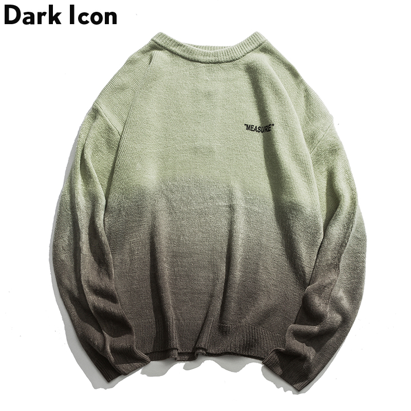 Dark Icon Gradient Green Black Vintage Knit Sweater Men Winter O-neck Loose Casual Sweater And Pullover Streetwear Clothes