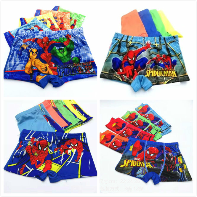 4pcs/lot Briefs For Boys Girls Underwears Cotton Panties Infant Boxer Spiderman Teenagers Clothes For 2-12 Y Panty