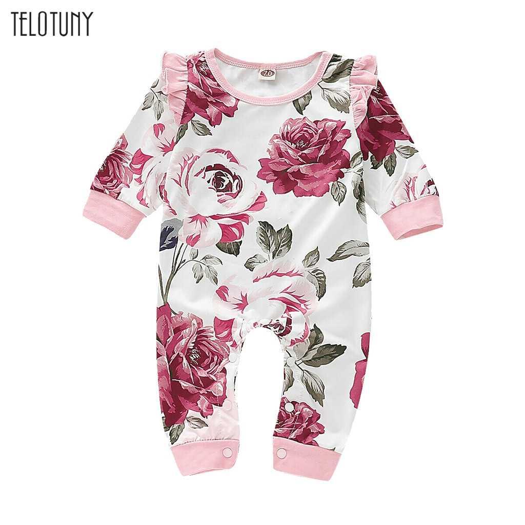 TELOTUNY 2019 חמוד פרחוני Romper תינוק בנות בגדי ראפלס פרחוני הדפסת סרבל תינוקות פעוט יילוד בגדי מכירה לוהטת 1030
