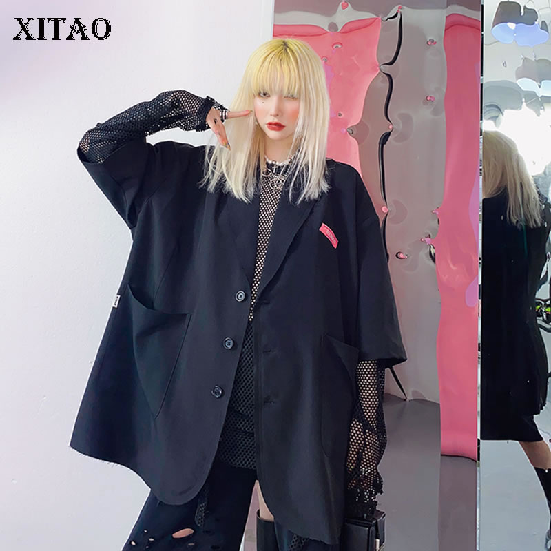 XITAO Tide Plus Size Letter Print Blazer Women Clothes 2020 Spring New Fashion Casual Turn Down Collar Match All Coat DMY4576
