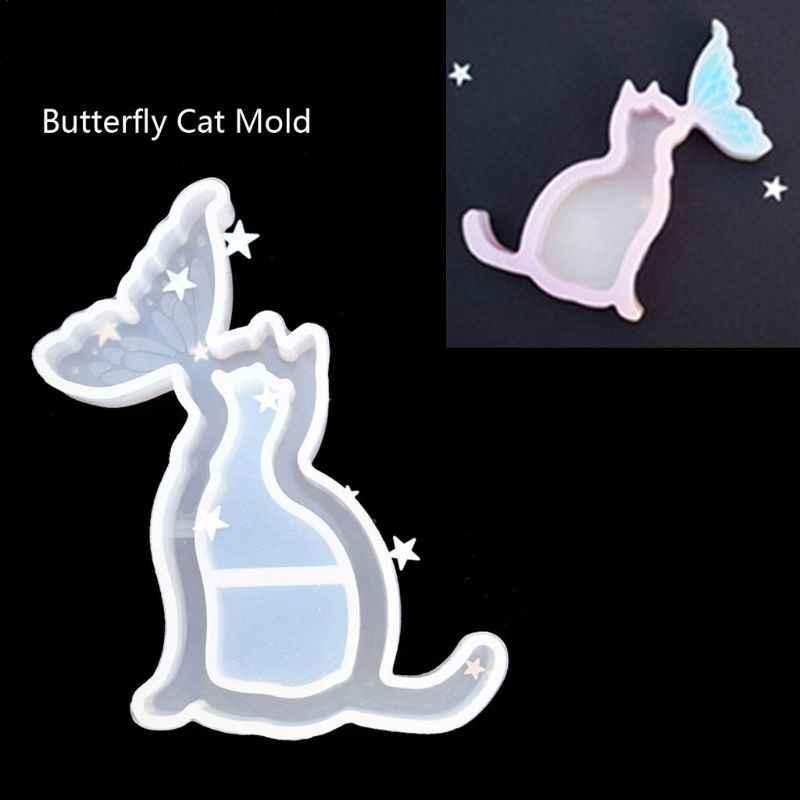 Baleia gato coração fantasma areia movediça pingente resina silicone molde jóias que faz a ferramenta