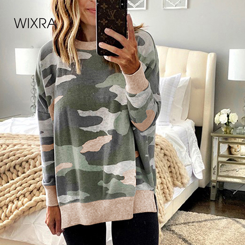 Wixra Womens Leopard Print Sweatshirts O-neck Hoodies Top Long Sleeve Casual Sweatshirt Hoodie Autumn Spring New Fashion 1