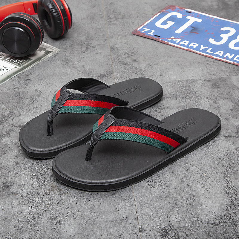 WEH Summer flip flops men's personality outside wearing beach shoes summer outdoor couples slippers men's tide fashion sandals