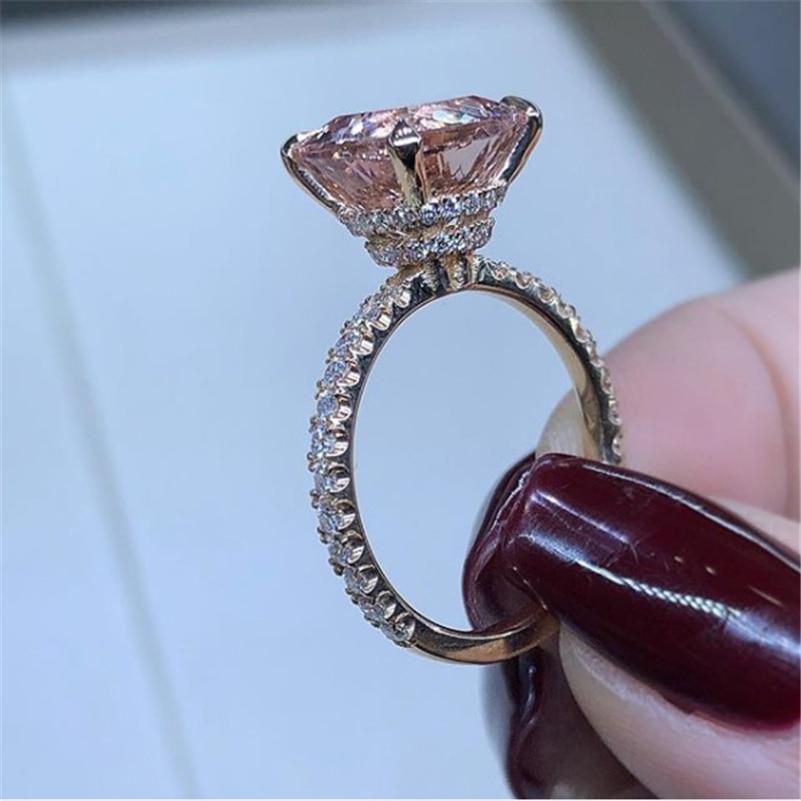 14K biżuteria z różowego złota naturalny połysk Moissanite pierścień dla kobiet Anillos De Bizuteria srebro 925 biżuteria luksusowe biżuteria pierścionki Box