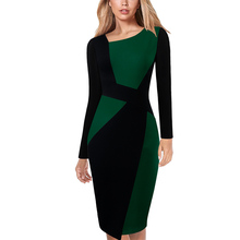 Vfemage Womens Elegant Asymmetric Neck Contrast Colorblock Patchwork Work Business Office Casual Party Bodycon Pencil Dress 123