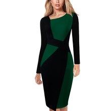 Vfemage Womens zarif asimetrik boyun kontrast Colorblock Patchwork iş iş ofis rahat parti Bodycon kalem elbise 123