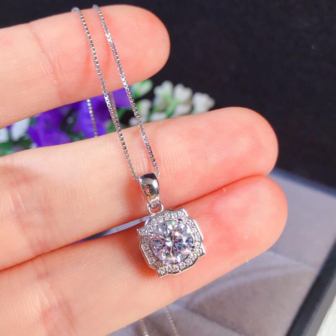 Bijoux en diamant naturel S925 en argent Sterling couleur collier de mariage Bizuteria pendentif femmes en argent massif 925 bijoux pendentifs