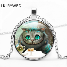LKLRYWBD / Xinchai County Cat Round Glass Necklace Alice In Wonderland Big Face Pendant Jewelry