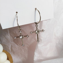 Clean Gothic Diamante Cross Charm Hoop Earrings 325