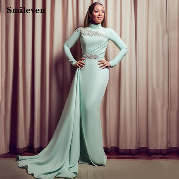 Smileven Pakistan High Neck Formal Evening Dresses Muslim Long Sleeve African Prom Dresses Party Gowns african silver high neck mermaid prom dresses ruffles rose flower prom gowns robe de bal backless party dresses evening wear for