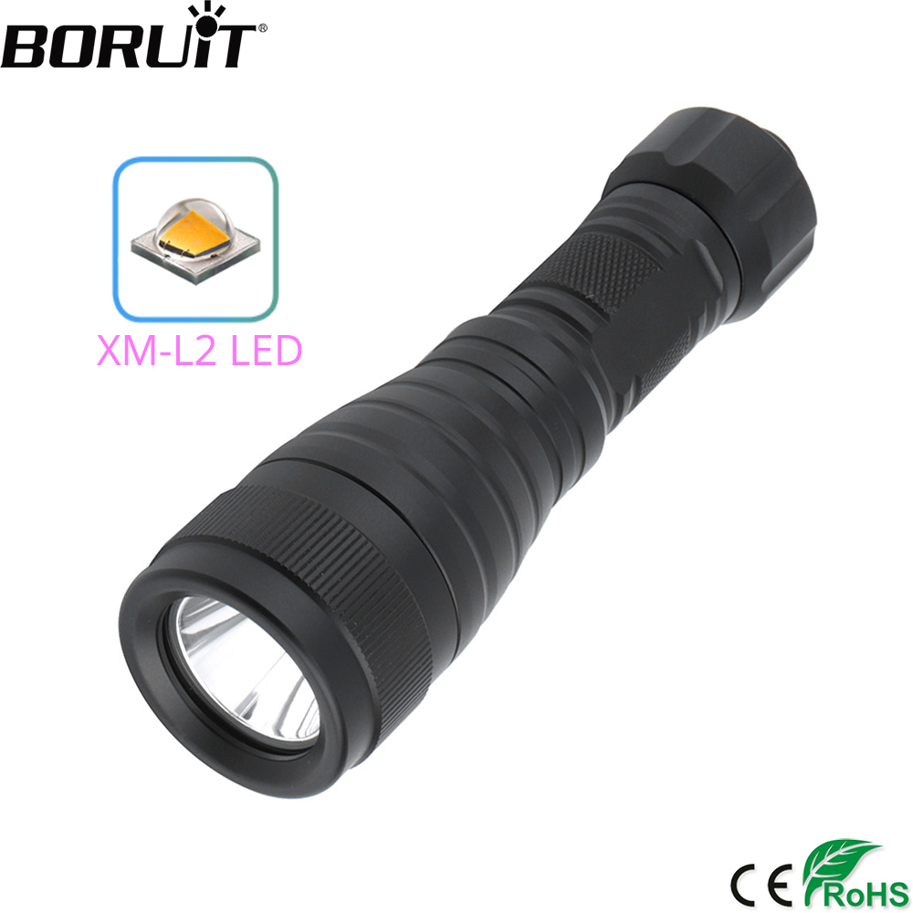 BORUiT DIV05 LED Scuba Diving Flashlight High Power XM-L2 2000LM Torch Underwater 150M Lantern 18650 Diver Submarine Light