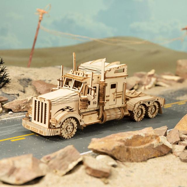 Robotime 1:40 286pcs Classic DIY Movable 3D America Heavy Truck Wooden Model Building Assembly Toy Gift for Children Adult MC502 2