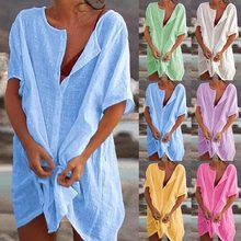 New Summer Beach Cover Ups Swimsuit Women Swimwear Bikini Bathing Suit Female Beach Casual Loose Blouse Shirt Short Mini Dress
