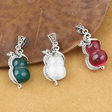 925 Sterling Silver Jewelry Retro Thai Men And Women Models Small Fresh Marcasite Inlaid Gourd Green Agate Pendant