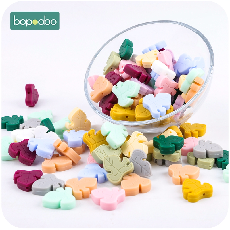 Bopoobo 50pcs BPA Free  Silicone Turtle Leaf Beads Silicone Beads Baby Teething Beads Baby Gifts Tiny Rod GradeToy Baby Products