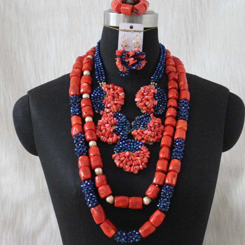 4UJewelry African Bridal Jewelry Sets Nature Coral Beads Crystal Beaded Balls Big Design Nigerian Wedding Jewellery Set 2020