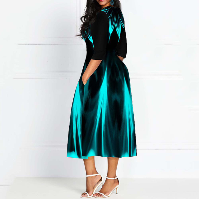 Half Sleeve V Neck Vintage A Line Printing Women Maxi Dress Standard-Waist Dress 2019 Autumn Dress Evening Party Beach Dress 3