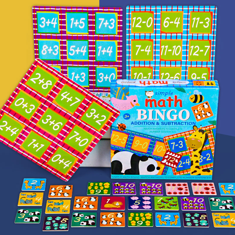 Simple Math bingo game learning education toys for children addition & subtraction math toys memorie games kids Educational toys 2