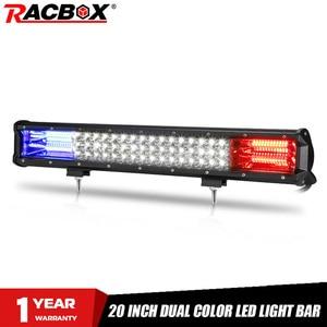 Image 1 - 20 Polegada offroad conduziu a barra de luz azul vermelho feixe combinado 12v 24v spotlight conduziu a luz de nevoeiro do trabalho para o trator do caminhão uaz atv suv mpv 4x4