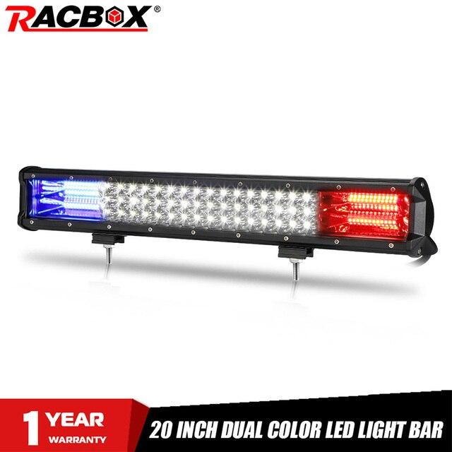 Projecteur combiné de travail LED 20 pouces, lampe LED tout terrain bars, faisceau bleu/rouge 12/24V, pour camions, tracteurs, UAZ ATV, SUV MPV 4x4